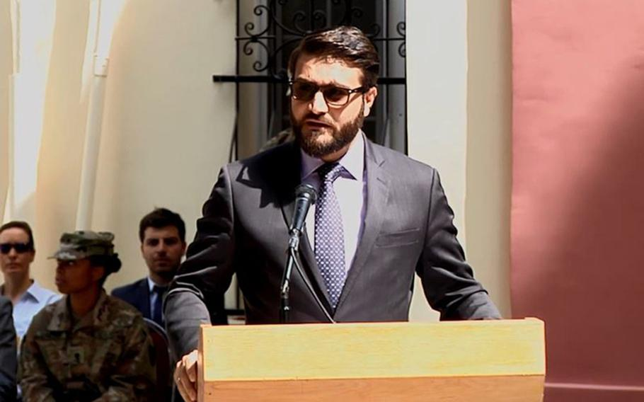 In this screenshot, Afghanistan National Security Adviser Hamdullah Mohib speaks at a NATO Resolute Support change of command ceremony in Kabul, Afghanistan in September 2018. Hundreds of Taliban prisoners released under the U.S.-Taliban peace deal have been rearrested after rejoining the insurgency, Mohib said.
