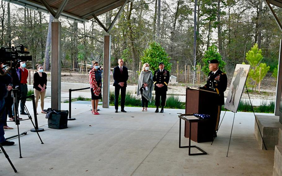 Staff Sgt. James F. Moriarty posthumously received the Silver Star Medal at a ceremony in Houston, Texas, Jan. 27, 2021, for his actions during an attack in Jordan in November 2016, in which he was killed.