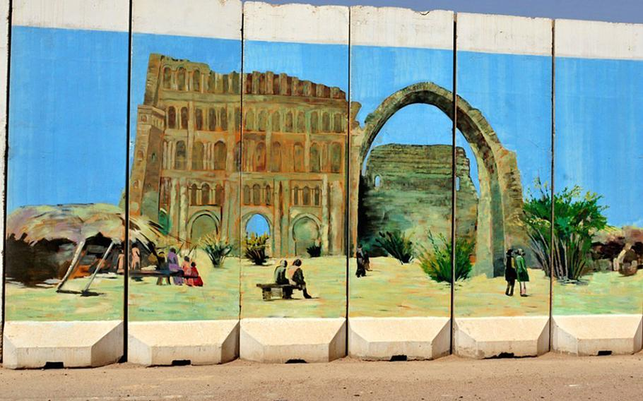 Murals adorn the protective T-walls leading to Contingency Operating Base Basra in 2011. The paintings were done by local Iraqi art students using funds from the Commander's Emergency Response Program. Lawmakers have directed the military to end the program used in Afghanistan and Iraq.