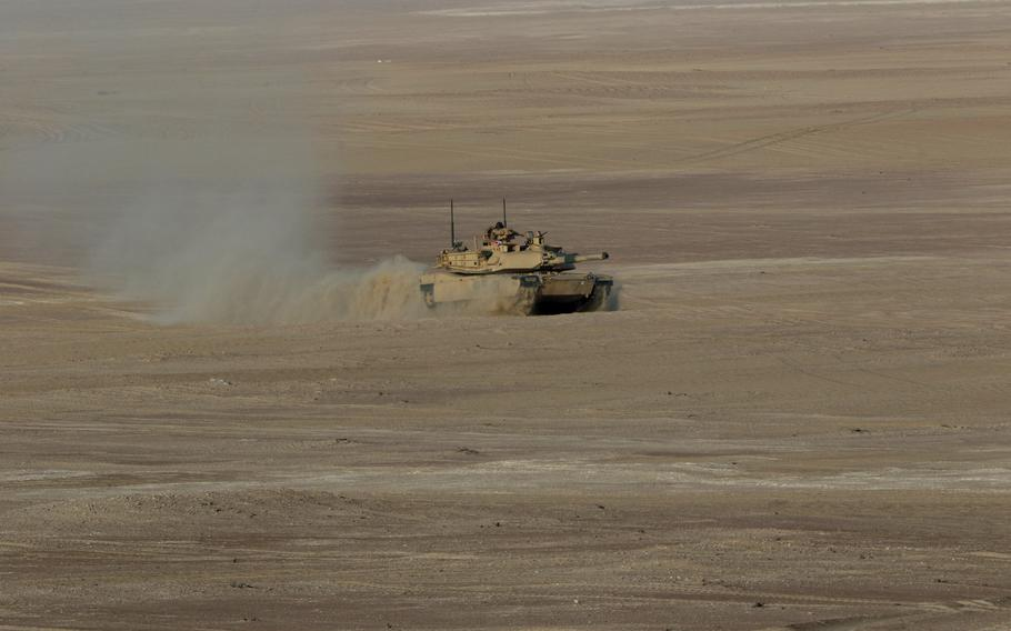 An M1 Abrams tank maneuvers during exercises between American and Emirati forces in Abu Dhabi, UAE. The exercise, which ran from Jan. 21 – Feb. 5, 2021, was the first bilateral military exercise in the Gulf region since the start of the coronavirus pandemic.