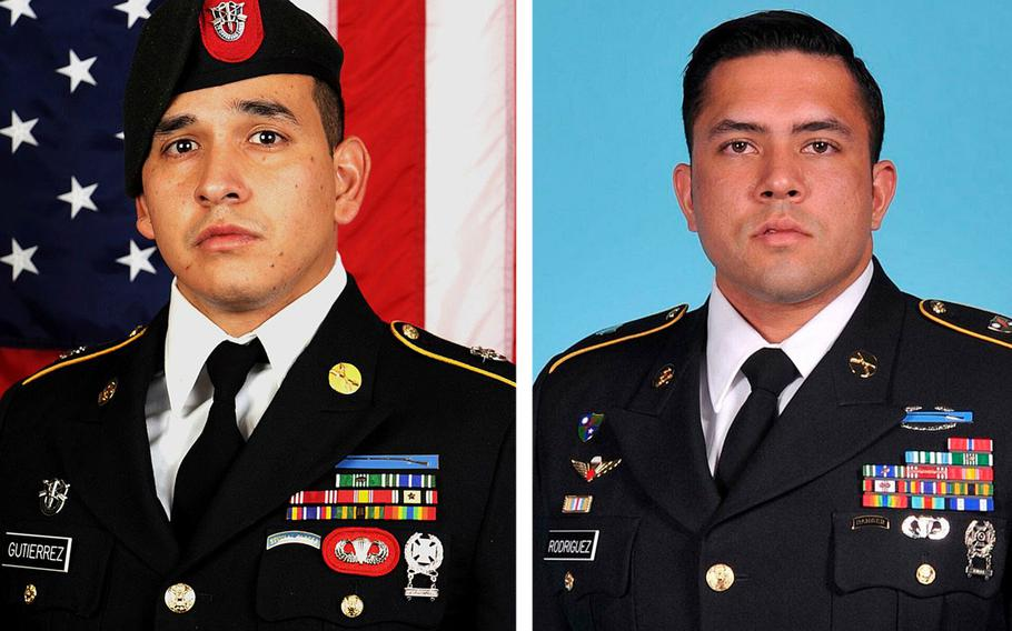 Sgts. 1st Class Javier J. Gutierrez, left, and Antonio R. Rodriguez, who died in Afghanistan a year ago, were the last U.S. service members to be killed in combat in the country as of Feb 8, 2021.