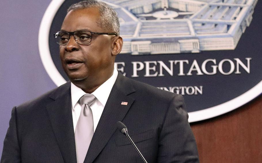 Defense Secretary Lloyd Austin speaks during a news briefing at the Pentagon on Feb. 19, 2021.