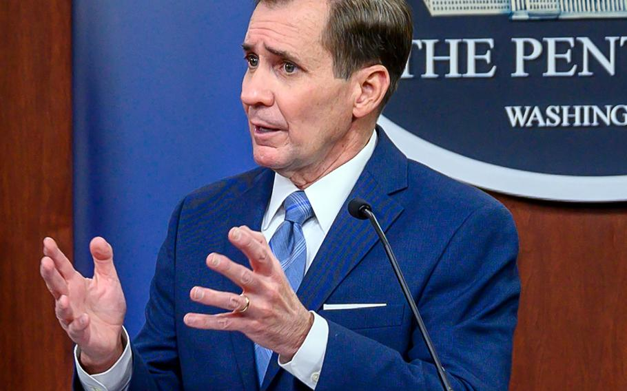 Pentagon Press Secretary John F. Kirby holds a news briefing at the Pentagon on March 1, 2021.