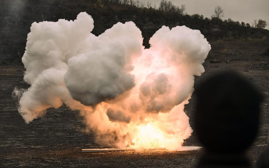 Explosives detonate during a class led by the FBI at a rock quarry in Jamesville, N.Y., in October 2020.  Even small explosions may change the molecular structure of the brain and increase the risk of Alzheimer's disease, Army-funded researchers said in a paper published by the journal Brain Pathology, Feb. 25, 2021.