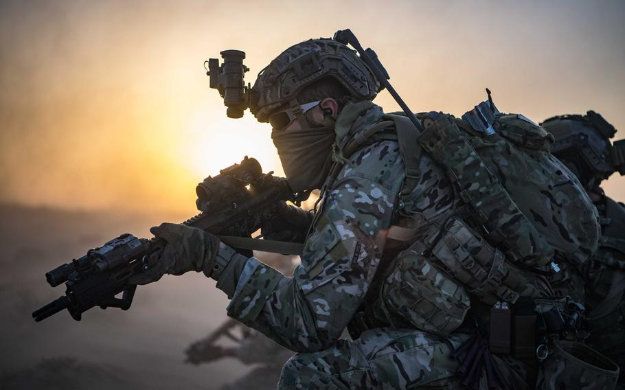 A Special Forces soldier secures the perimeter at an undisclosed location in Afghanistan in February 2020.