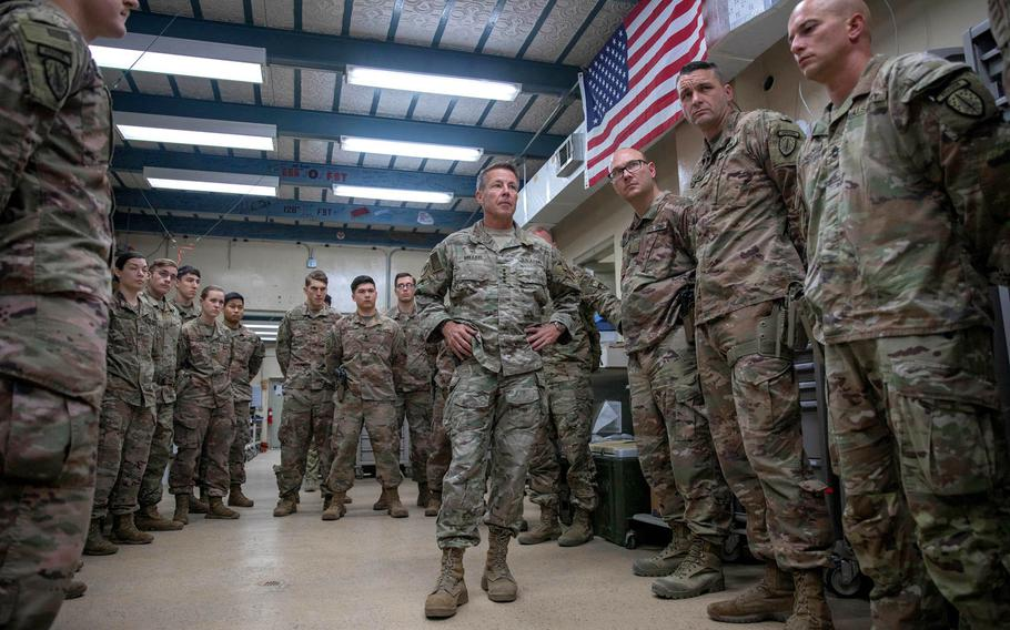 Gen. Scott Miller visits U.S. medical personnel in Jalalabad, Afghanistan, in October 2019. Scammers are using Miller's likeness and photos to create fake social media profiles, a U.S. Forces - Afghanistan spokesman said March 16, 2021.
