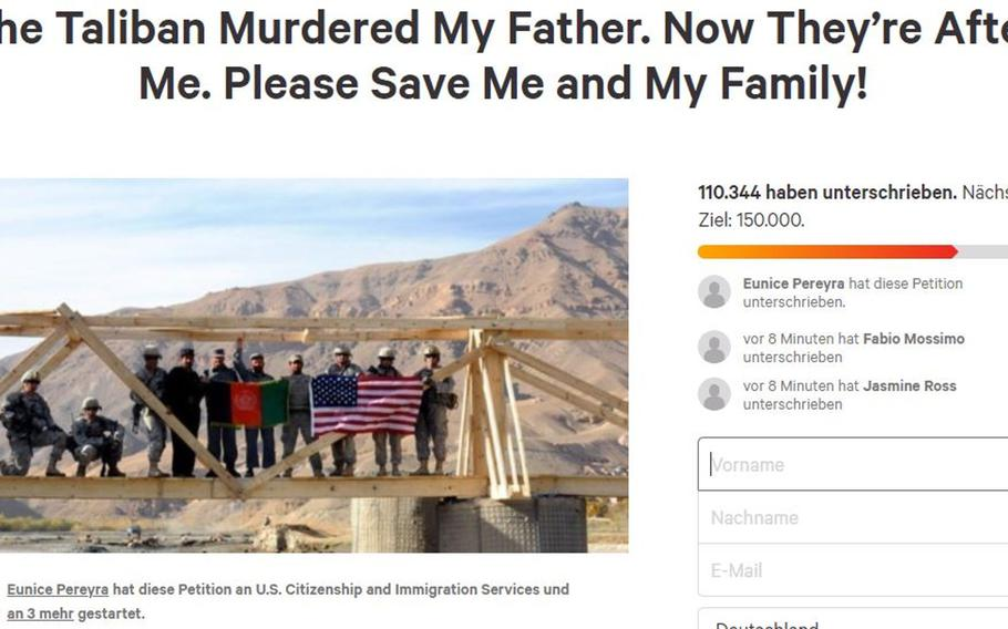 A petition asks for support for the family of an Afghan man who worked for the U.S. Embassy and military, and was likely killed by the Taliban. The man had been waiting almost a decade for a Special Immigrant Visa, which would have allowed him and his family to immigrate to the United States.