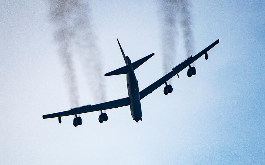 """A B-52 Stratofortress flies over Washington, D.C., on July 4, 2020, as part of the """"Salute to America"""" celebration. According to reports on April 23, 2021, two Stratofortress bombers have arrived in the Middle East as the U.S. and allied troops prepare to pull out of Afghanistan."""