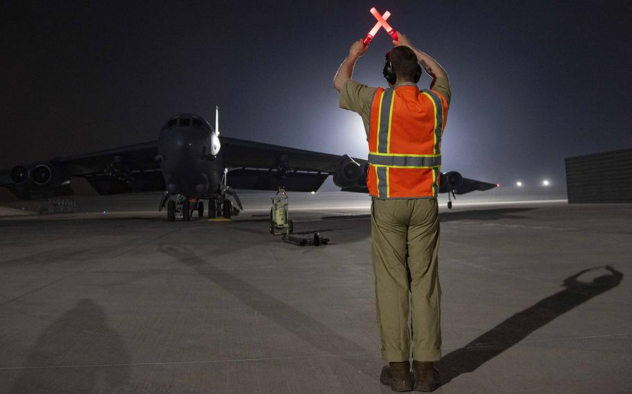 A B-52H Stratofortress assigned to the 5th Bomb Wing, Minot Air Force Base, N.D., arrives at Al Udeid Air Base, Qatar, on April 26, 2021. Two B-52 aircraft arrived April 26, joining the additional B-52 bombers that arrived April 23. The bombers are deployed to protect U.S. and coalition forces as they conduct drawdown operations from Afghanistan.