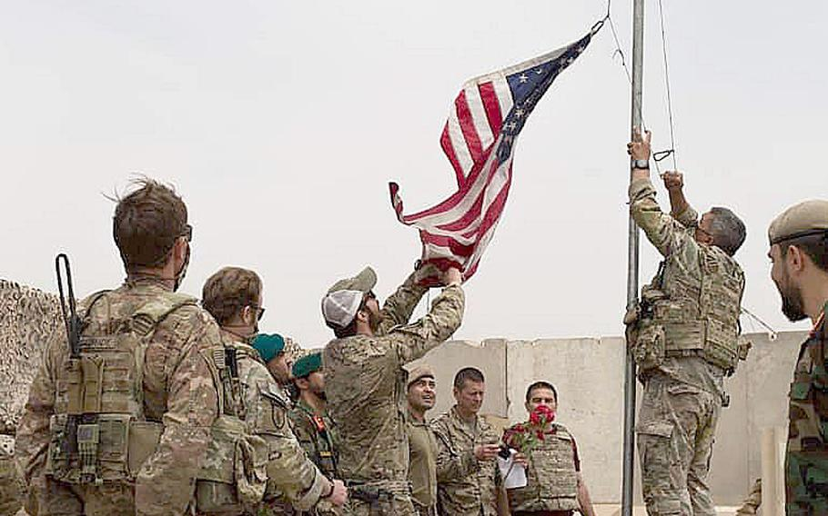 U.S. troops turned over Camp Antonik in Helmand, Afghanistan, province to Afghan special forces soldiers in a ceremony Sunday, May 2, 2021, a statement by the country's Ministry of Defense said. Camp Antonik, renamed from the former Camp Bastion, served as a base for U.S. Special Operations troops.