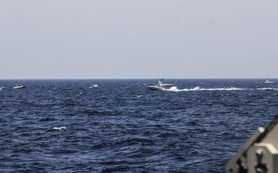 Two Iranian Islamic Revolutionary Guard Corps Navy (IRGCN) fast in-shore attack craft (FIAC), a type of speedboat armed with machine guns, conducted unsafe and unprofessional maneuvers while operating in close proximity to U.S. naval vessels transiting the Strait of Hormuz, May 10, 2021.