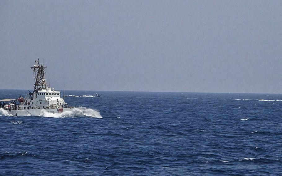 wo Iranian Islamic Revolutionary Guard Corps Navy fast in-shore attack craft, a type of speedboat armed with machine guns, conducted unsafe and unprofessional maneuvers while operating in close proximity to USCGC Maui as it transits the Strait of Hormuz with other U.S. naval vessels, May 10, 2021.