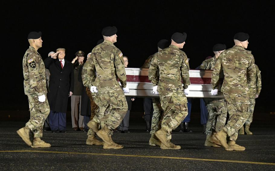 An Army carry team transfers the remains of Sgt. 1st Class Antonio R. Rodriguez, of Las Cruces, N.M., at Dover Air Force Base, Del.,  Feb. 10, 2020. As of Saturday, Rodriguez and Sgt. 1st Class Javier J. Gutierrez were the last Americans to die in combat in Afghanistan when they came under enemy fire in eastern Nangarhar province in February.