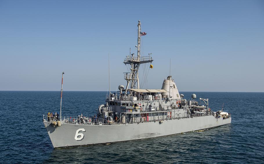 USS Devastator, a mine countermeasures ship, had a fire on board March 14, 2019.