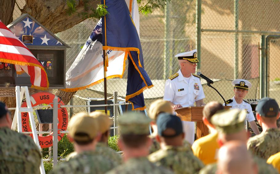 Vice Adm. James Malloy, U.S. 5th Fleet commander, speaks at a memorial ceremony for the USS Firebolt at Naval Support Activity Bahrain on April 24, 2019.
