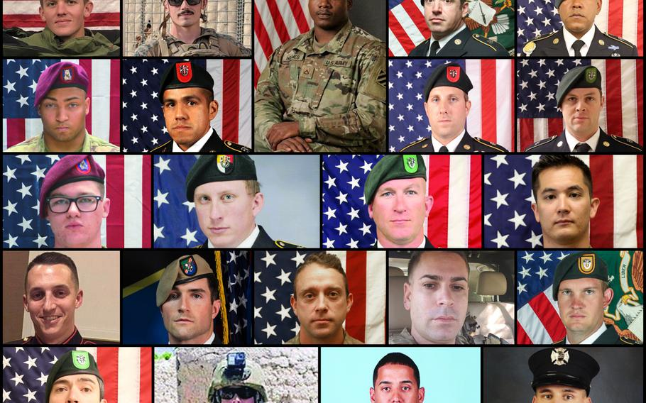 Twenty-two U.S. servicemembers were killed in Afghanistan in 2019.