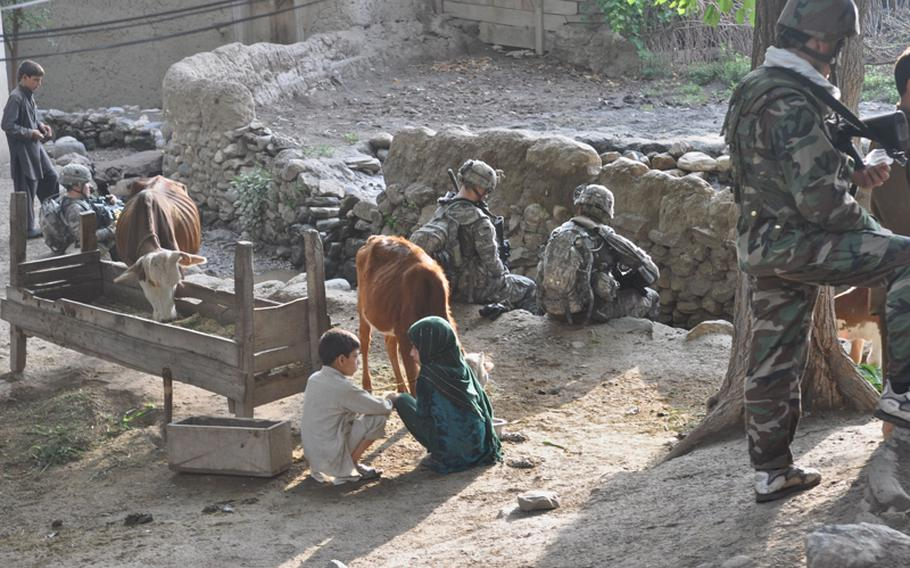 Young villagers in Kandagal, just across the Pech River from Combat Outpost Michigan, tend to their animals as U.S and Afghan soldiers  rest for a few minutes at the end of a patrol on July 21.