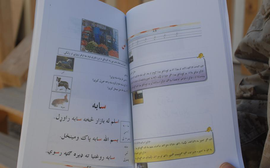 One of 70,000 booklets to be distributed in rural Helmand province for women to learn to read in their homes as they listen to teachers on a daily radio program.