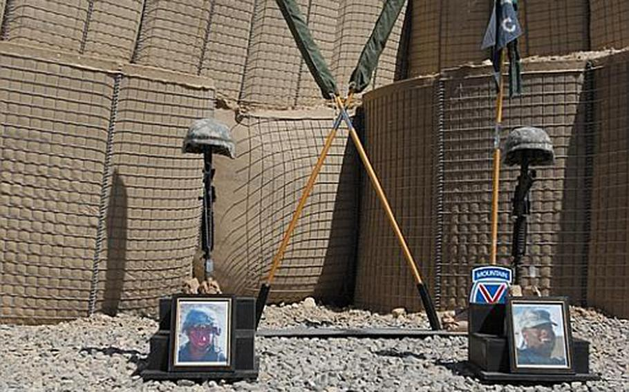 Photographs of Sgt. Aaron Smith, left, and Private 1st Class Brandon Owens, who were killed Oct. 2, 2009, by an Afghan police officer known to Americans as Crazy Joe.