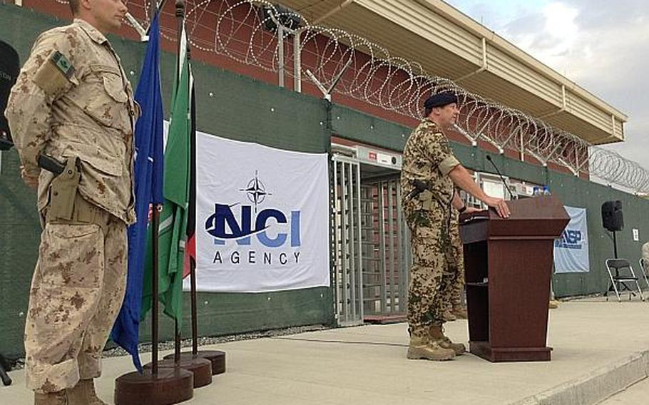 ISAF Joint Command deputy commander Maj. Gen. Dieter Warnecke gave opening remarks at a ribbon-cutting ceremony on July 12 in Kabul for a new NATO computer network facility. Warnecke said that NATO, and especially Germany, is determined to have a presence in Afghanistan past the end of 2014.