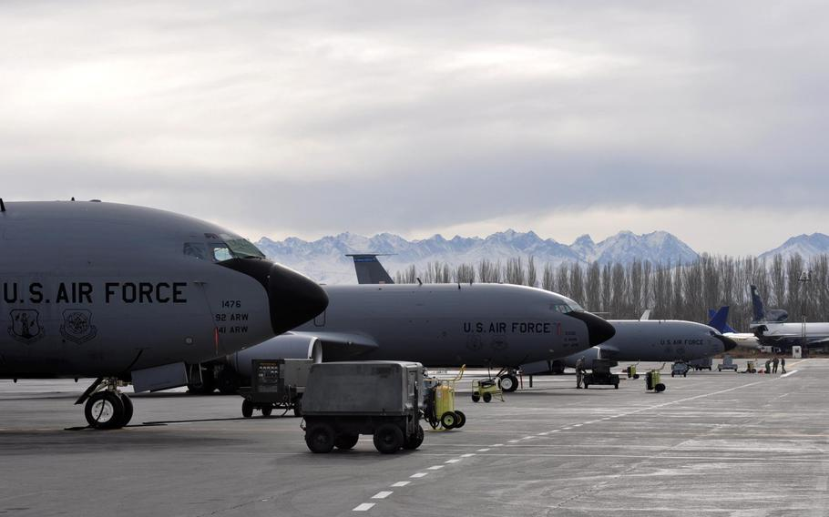 KC-135 tanker aircraft sit on the tarmac at Manas International Airport, where the U.S. Air Force maintains a presence. The aircraft help provide in-flight refueling for flights over northern Afghanistan.