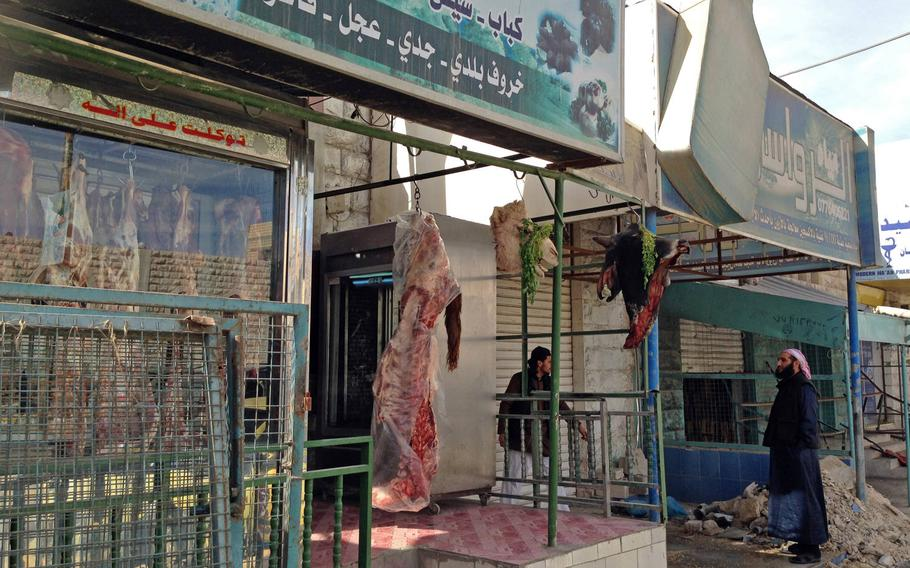 A butcher's shop in Jordan's southern city of Maan, considered a hotspot for Islamic radicalism, on Jan.24, 2015. The city has seen violent pro-Islamic State demonstrations in the past year.