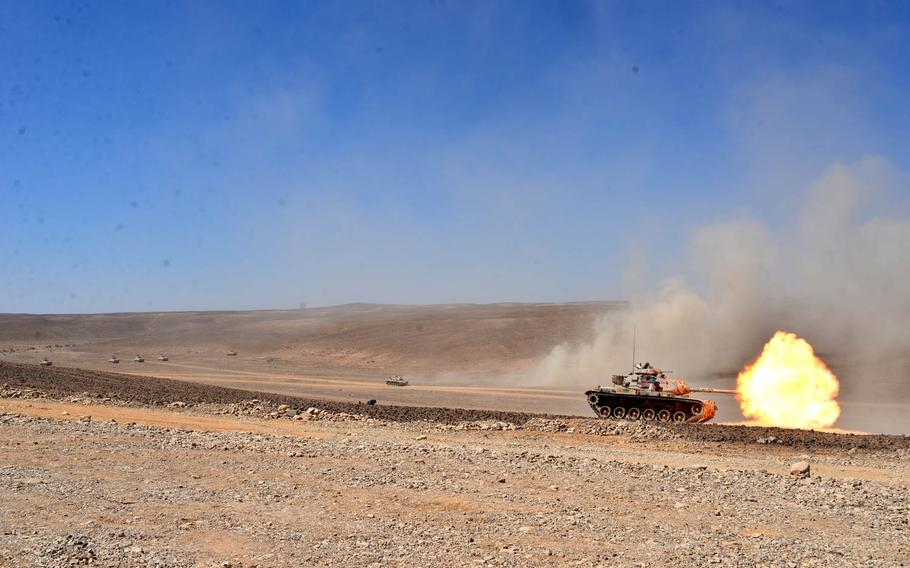 A Jordanian tank fires its gun on the Wadi Shadiya training range in Jordan on May 16, 2015, as part of a rehearsal for a military demonstration scheduled two days later before Jordanian and American officials. The event is the culmination of the exercise Eager Lion, which is held annually in Jordan to signal U.S. support for the key Middle East ally.