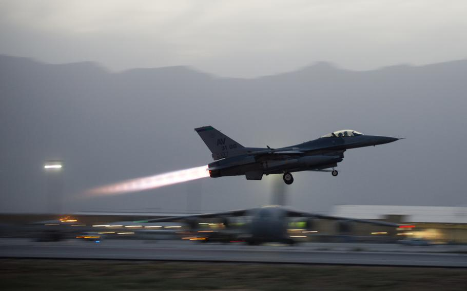 An F-16 Fighting Falcon from the 555th Expeditionary Fighter Squadron takes off from Bagram Air Field, Afghanistan, June 8, 2015.