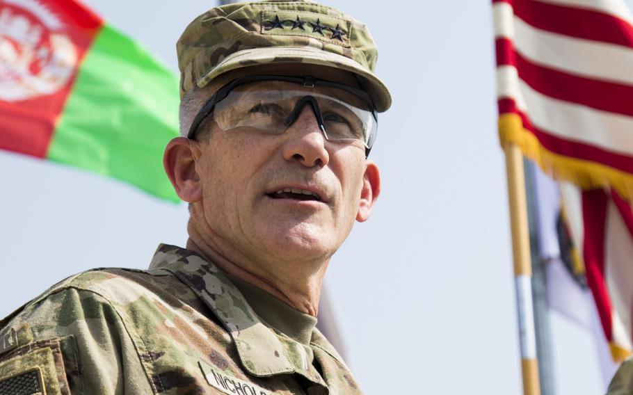 NATO commander in Afghanistan Gen. John W. Nicholson speaks at a ceremony in October 2017.