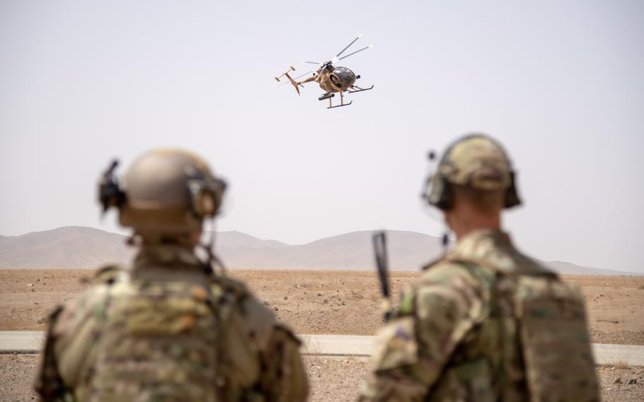 Train, Advise and Assist Command-Air operations advisers observe an MD-530 during the final exercise of the Afghan tactical air coordinator course Sept. 5, 2018, in Kabul, Afghanistan.