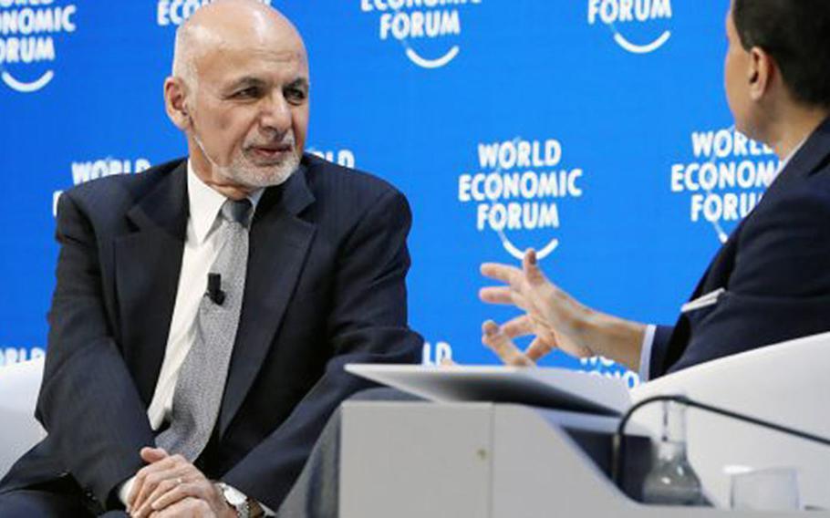 President Ashraf Ghani of Afghanistan talks with CNN anchor Fareed Zakaria at the World Economic Forum in Davos, Switzerland, Jan. 24, 2019.