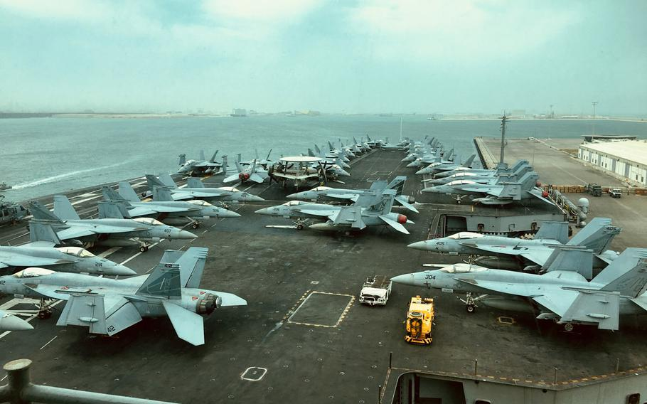 The USS John C. Stennis at Khalifa bin Salman Port on Monday, March 25, 2019, during a port visit to Bahrain. Stennis' crew of approximately 5,000 sailors is in Bahrain for a port visit.
