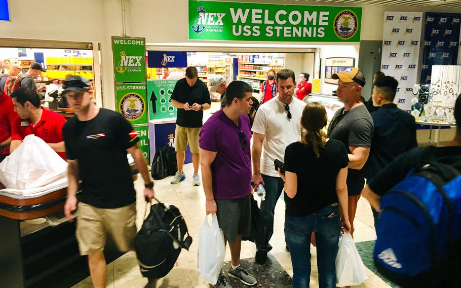 Patrons shop at the Navy Exchange at Naval Support Activity Bahrain during a port visit from the aircraft carrier USS John C. Stennis on Monday, March 24, 2019.