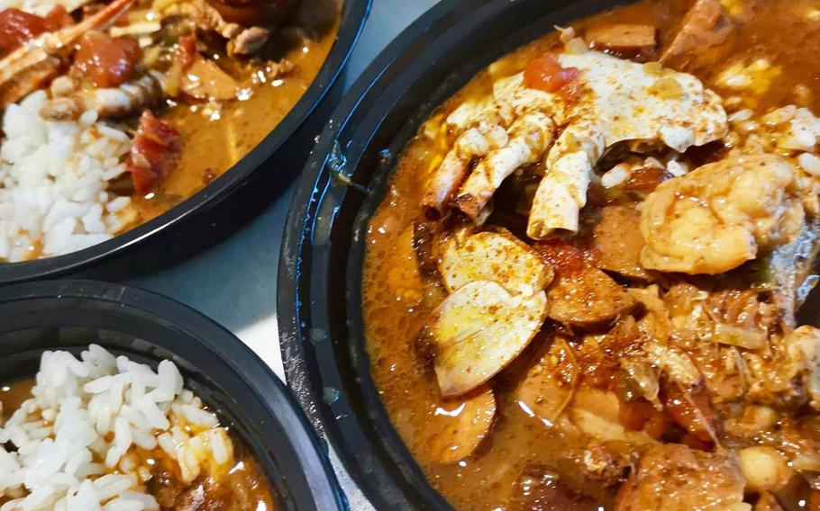 Cajun gumbo prepared by Chief Petty Officer Markeeta Hardin, also known as Chef Keeta. Stationed at Naval Support Activity Bahrain.