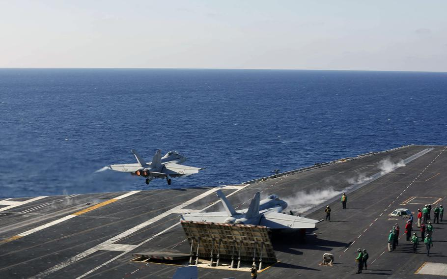 An F/A-18E Super Hornet from Strike Fighter Squadron 25 launches from the flight deck of the aircraft carrier USS Abraham Lincoln in the Ionian Sea, May 3, 2019.