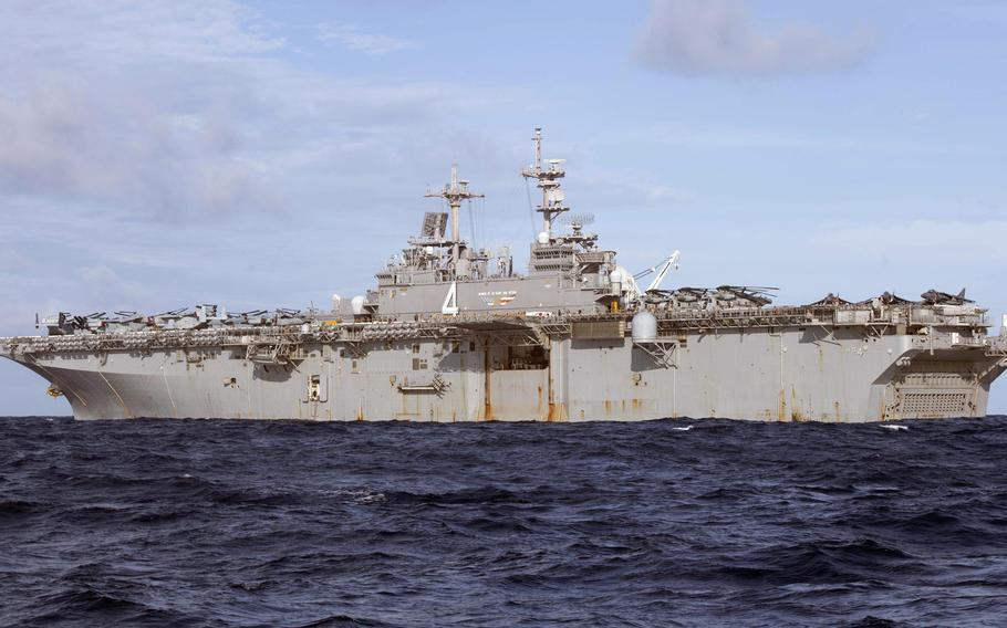 The amphibious assault ship USS Boxer transits the Andaman Sea on June 15, 2019. The Boxer Amphibious Ready Group and 11th Marine Expeditionary Unit arrived in the U.S. 5th Fleet area of operations, Monday, June 24, 2019, relieving the Kearsarge ARG and 22nd MEU.