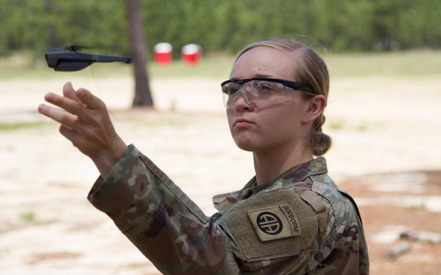 Pvt. Kesley Darnell, 3rd Brigade Combat Team, 82nd Airborne Division, lets go of the air vehicle as it takes off during the systems fielding at Fort Bragg, N.C., May 2, 2019.