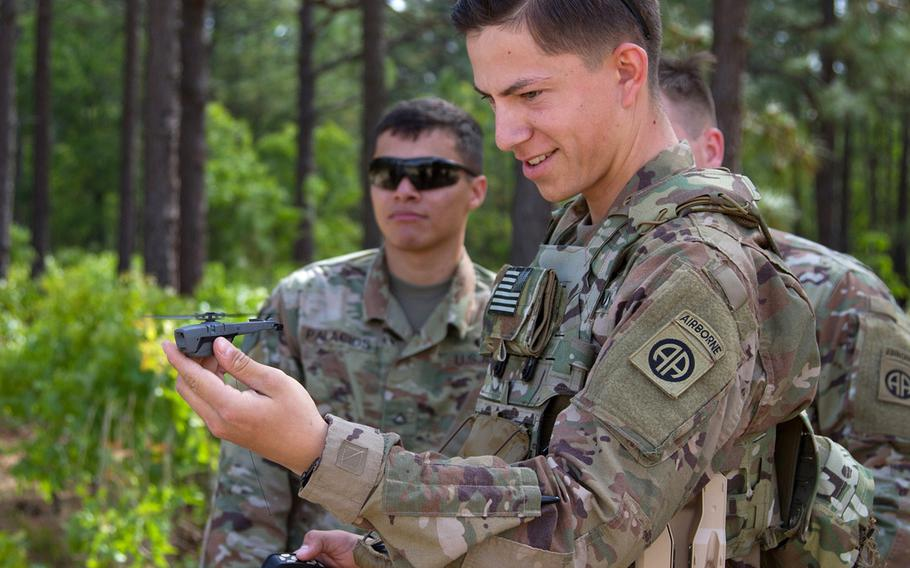 Pfc. Kyle Dinsmore, 1st Battalion, 505th Parachute Infantry Regiment, 82nd Airborne Division gets his turn to use the system during the SBS fielding at Fort Bragg, N.C., May 2, 2019.