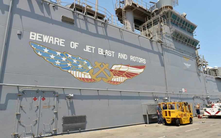 The amphibious assault ship USS Boxer shown pierside at Bahrain's Khalifa bin Salman Port on Aug. 1, 2019.