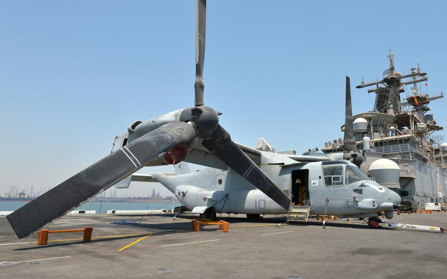 An MV-22 Osprey tilt-rotor aircraft rests on the flight deck of the amphibious assault ship USS Boxer on Aug. 1, 2019.