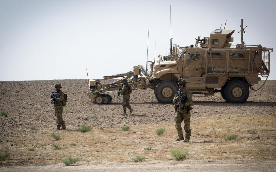 Paratroopers assigned to the 3rd Brigade Combat Team, 82nd Airborne Division conduct a foot patrol Friday, Aug. 9, 2019, in Kandahar, Afghanistan.