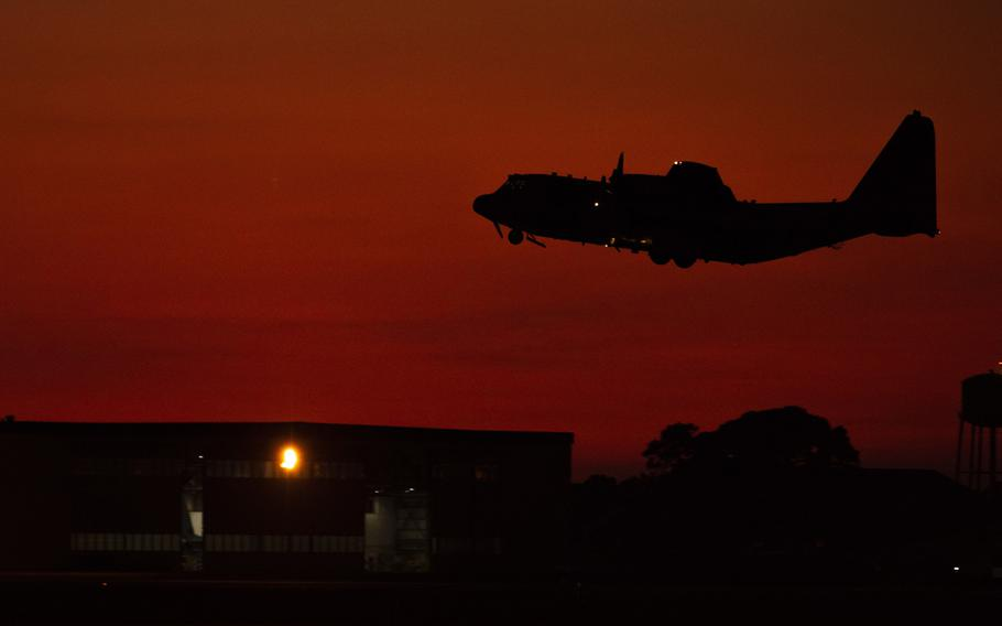 An AC-130J Ghostrider gunship assigned to the 73rd Special Operations Squadron takes off from Hurlburt Field, Fla., Sept. 26, 2019. The AC-130J is in high demand over Afghanistan, where it provides close-air support and armed overwatch to U.S. and Afghan operations.