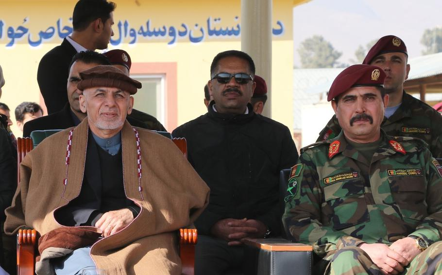 """Afghan President Ashraf Ghani visits the Afghan National Army Special Operations Command at Camp Commando, Kabul, Afghanistan, Jan. 19, 2018. Ghani announced in a speech on Tuesday, Nov. 19, 2019, that the Islamic State group's """"backbone was broken"""" in Afghanistan after hundreds of its fighters surrendered."""