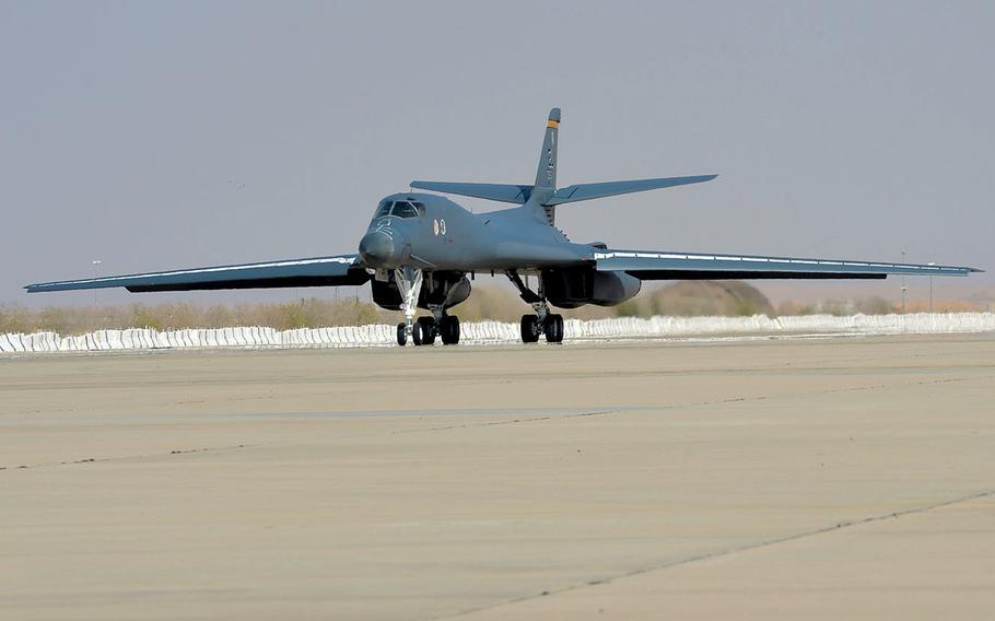 An Air Force B1-B Lancer touches down at Prince Sultan Air Base in Saudi Arabia, Oct. 25, 2109.