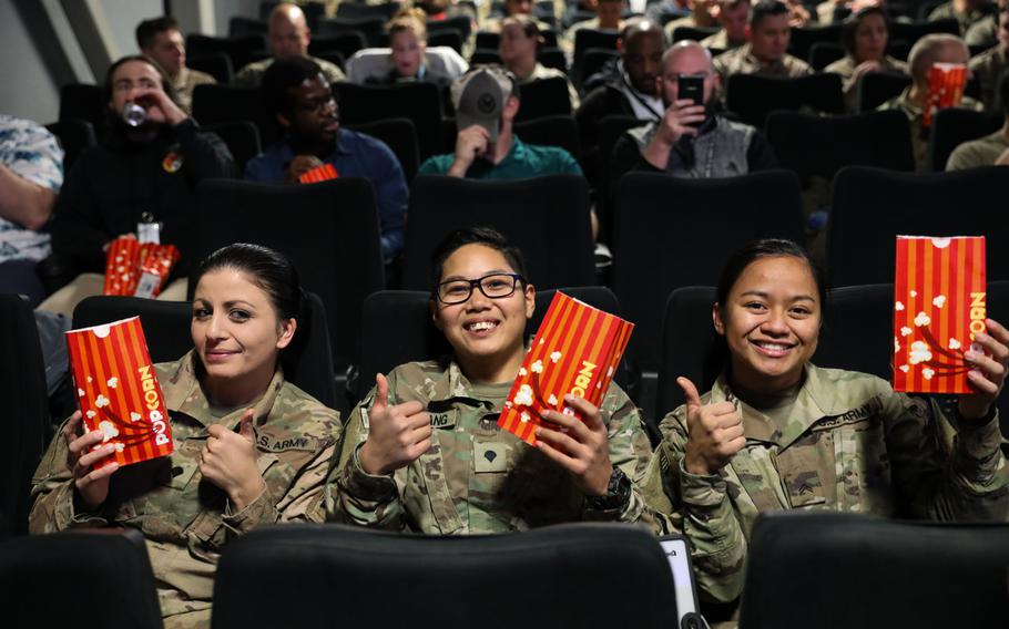 """Soldiers in Afghanistan await the premiere of """"Star Wars: The Rise of Skywalker"""" on Thursday, Dec. 19, 2019, at Bagram Airfield, Afghanistan."""