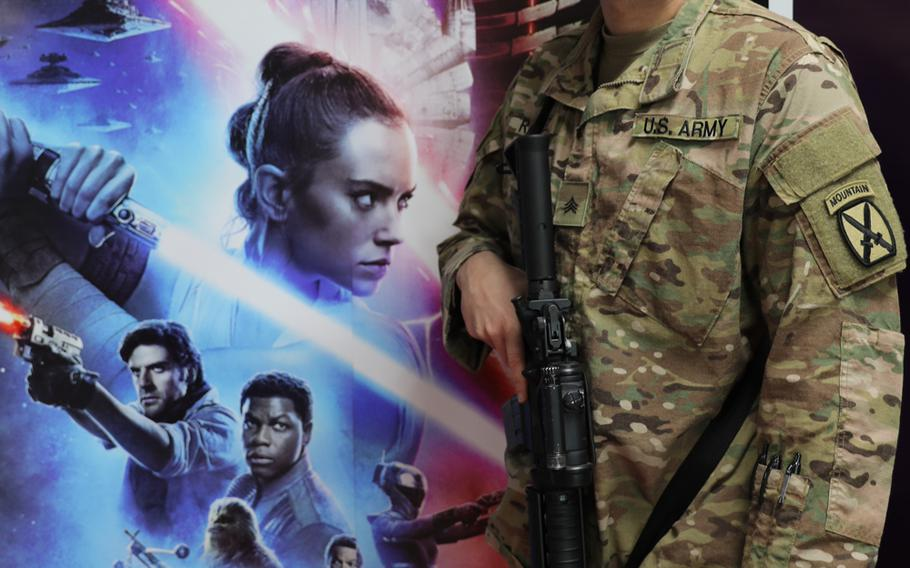Sgt. Danny Ramirez from the 10th Combat Aviation Brigade prepares to watch the Star Wars premiere on Thursday, Dec. 19, 2019, at Bagram Airfield, Afghanistan.