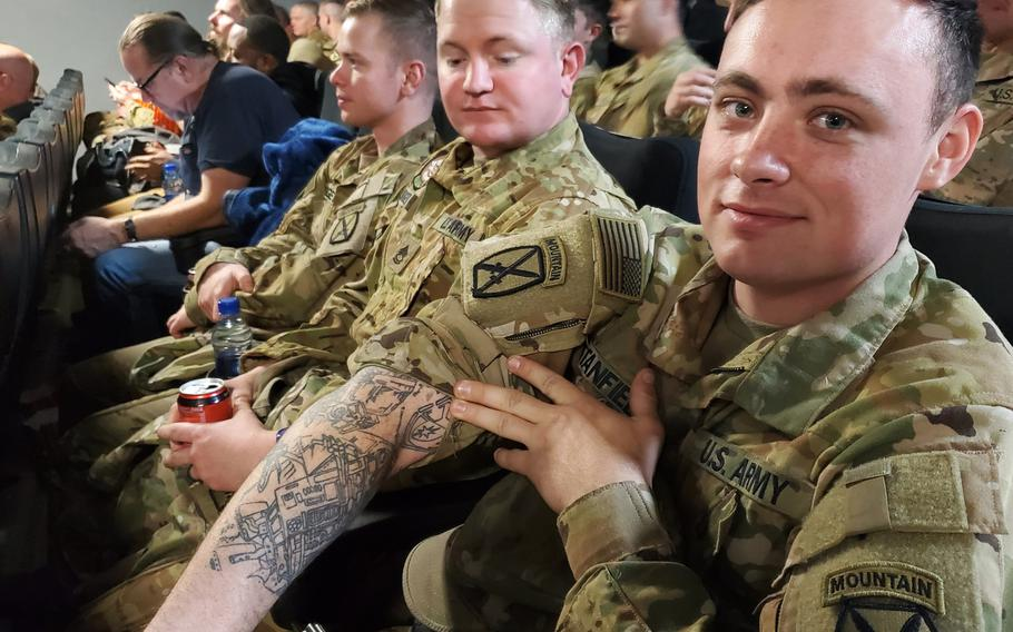 Sgt. David Stanfield from the 10th Combat Aviation Brigade demonstrates his fandom with a Star Wars themed tattoo ahead of the Star Wars movie premiere on Thursday, Dec. 19, 2019, at Bagram Airfield, Afghanistan.