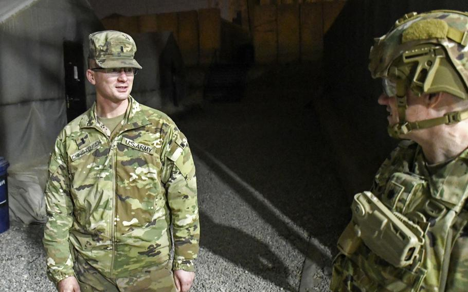1st Lt. Eric Christiansen, left, speaks with his battalion commander, Lt. Col. Travis Tilman, on Thursday, Dec. 26, 2019, at a camp in Mosul, Iraq. Tilman's holiday visit was a rare opportunity for him to get out of Baghdad and meet with his battalion's troops spread out around Iraq.