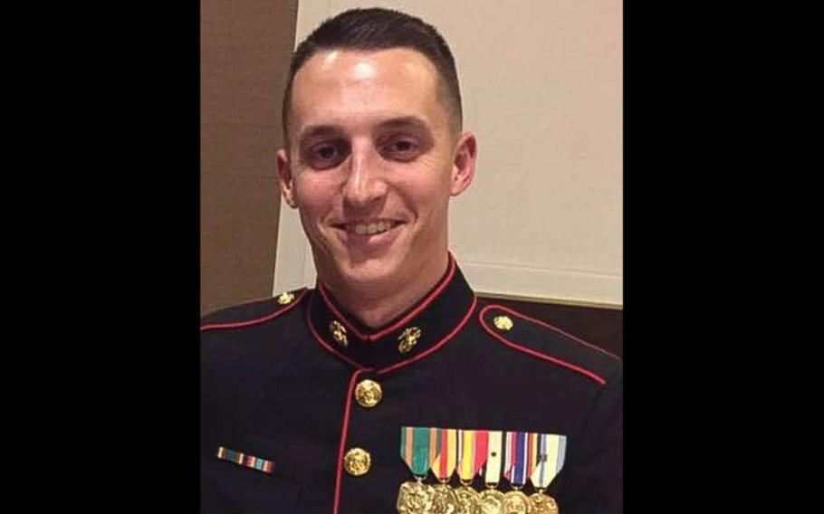 Marine Staff Sgt. Benjamin S. Hines, 31, of York, Pa., was killed by a car bomb explosion outside Bagram Airfield, April 8, 2019.