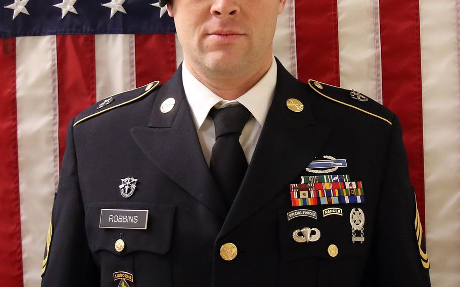 Army Sgt. 1st Class Elliott J. Robbins, 31, a Green Beret medical sergeant from Utah, died from noncombat injuries in southern Helmand province on June 30, 2019.
